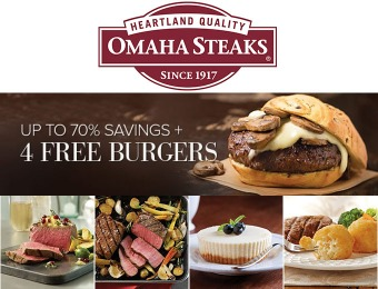Up to 70% off Omaha Steaks + 4 Free Burgers