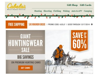 Up to 60% off Hunting Gear & Clothing at Cabela's