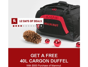 Free Mammut 40L Cargon Duffel Bag with $500 Mammut Purchase