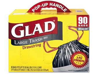 $5 off Glad Drawstring Outdoor Trash Bags 30 Gal (90 count)