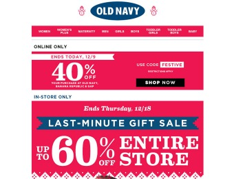 Old Navy Holiday Sale - Up 60% off Entire the Store