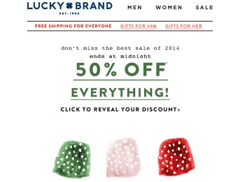 Today Only! Save 50% off Everything at Lucky Brand