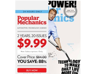88% off Popular Mechanics Magazine, $9.99 / 20 Issues