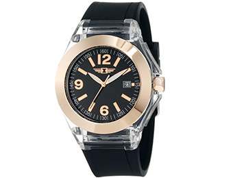 83% off I by Invicta Women's Rose Gold-Tone Black Watch