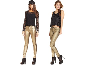 77% off Tinseltown Juniors' Gold Metallic Skinny Jeans