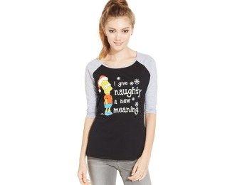 79% off Pretty Rebellious Juniors' Printed Raglan T-Shirt