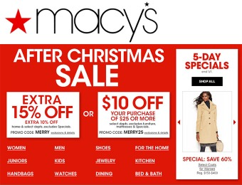 Macy's After Christmas Sale - Extra 10% or 15% off