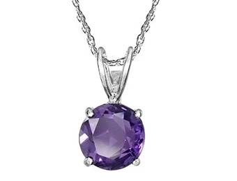 62% off Sterling Silver 8mm Round Amethyst Pendant Necklace