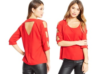 80% off BCX Juniors' Cutout Top, Black or Red