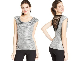 80% off BCX Juniors' Metallic Fringe-Back Top, Gold or Silver