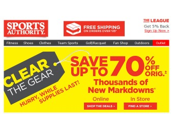 Up to 70% off at Sports Authority - Thousands of New Markdowns