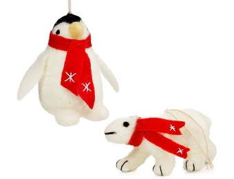 92% off Holiday Lane Set of 2 Plush Animal Ornaments