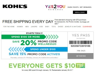 20% off Your Purchase of $100+ at Kohl's, 15% off Smaller Purchases