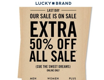 Up to 50% of All Sale Styles at Lucky Brand