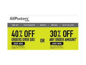 Extra 40% off Your Purchase of $85+ at Allposters.com