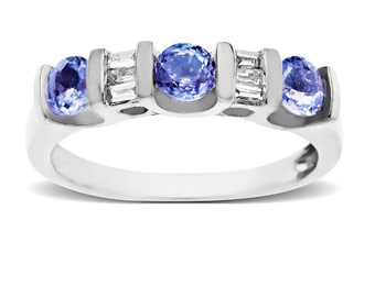 74% Off 10K White Gold Tanzanite & 1/8ct Diamond Ring