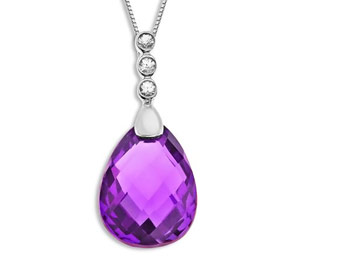 67% off Sterling Silver 8.5ct Amethyst & Sapphire Pendant