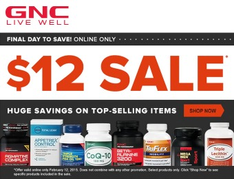 $12 Sale - Up to 67% off on 284 Vitamins, Supplements & Nutrition