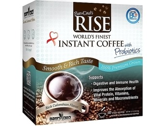 63% off BarnDad's RISE - Instant Coffee with Probiotics 30 Cnt