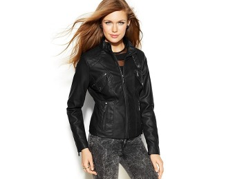 76% off Jou Jou Faux-Leather Band-Collar Women's Moto Jacket
