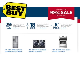 President's Day Sale - Up to 35% off Major Appliances at Best Buy