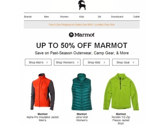 Up to 50% off Marmot Past-Season Outerwear, Camp Gear, & More