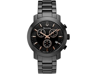 $270 off Bulova Men's Black-Tone Stainless Steel Bracelet Watch