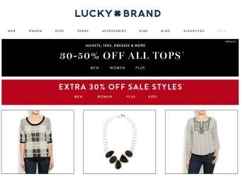 30-50% off All Tops at Lucky Brand