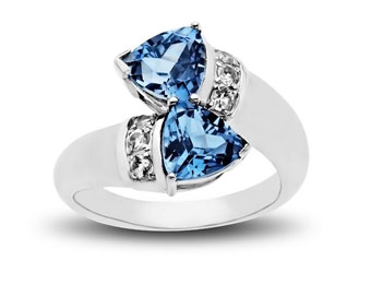 67% off Sterling Silver 2.75 ct Blue and White Topaz Ring