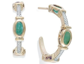 92% off Victoria Townsend Emerald Cable C-Hoop Earrings