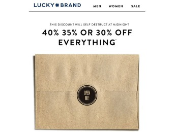 Extra 40% off Everything at Lucky Brand