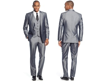 $266 off Kenneth Cole Reaction Grey Pinstriped Vested Slim-Fit Suit