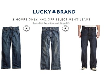 Lucky Brand Flash Sale - 40% off Select Men's Jeans