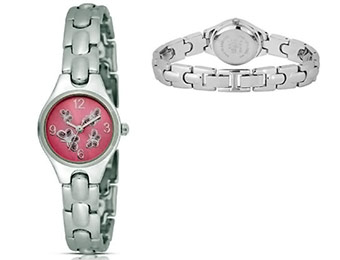93% off FMD WS056 Ladies Pink Crystal Butterfly Sunburst Watch