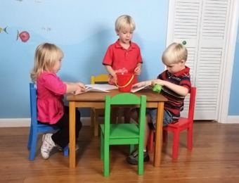$52 off Tot Tutors Wood Table and Chair Set, Multiple Colors