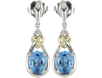 65% off Love Knot Silver & 14k Gold Blue Topaz & Diamond Earrings