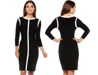 80% off Chaps Colorblock Ruched Sheath Dress