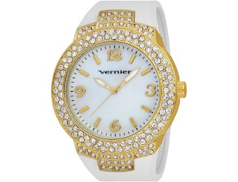 83% off Vernier Women's Mother-Of-Pearl Dial Rubber Strap Watch