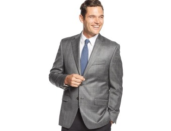$299 off Lauren Ralph Lauren Grey Windowpane Silk & Wool Sport Coat