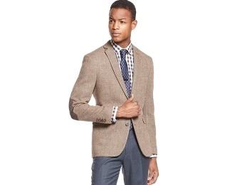 $244 off Bar III Tan Herringbone Elbow Patch Slim-Fit Sport Coat