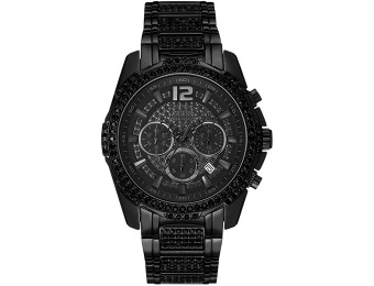 $123 off GUESS Men's Chronograph Crystal Accent Black Ion Watch