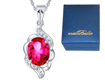 $163 off Mabella 2.0 ctw Oval Created Ruby Pendant Necklace