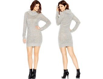 89% off Bar III Long-Sleeve Metallic-Flecked Sweater Dress
