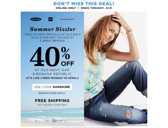 Extra 40% off Your Online Purchase at Gap.com