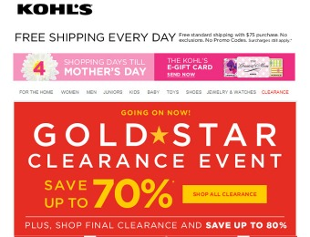 Kohl's Gold Clearance Event - Up to 80% off