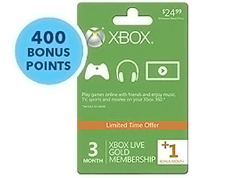 $5 off 3+1 Month Xbox Live Gold Membership & 400 Free Points