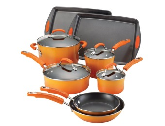 $172 off Rachael Ray Porcelain II 12-Pc Cookware Set, Orange