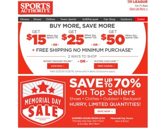 Sports Authority Memorial Day Sale - Up to 70% off