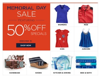 Kohl's 50% off Memorial Day Sale - Tons of Great Deals