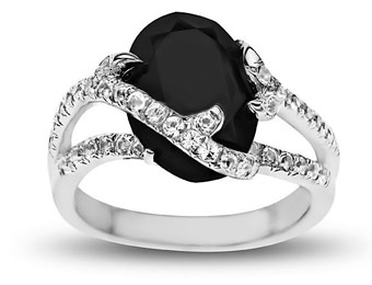 Deal: Rock & Redemption Sterling Silver 6 3/8ct Jet Crystal Ring
